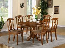 7 pc oval kitchen table with 6 padded seat chairs in saddle brown finish ebay