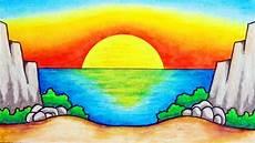 Cara Menggambar Pemandangan Alam Yang Mudah Gambar