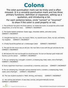 colon practice worksheets colon usage worksheet education com