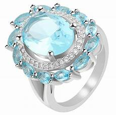 luxury silver color ring for women wedding band jewerlly big flower cz engagement ring bridal