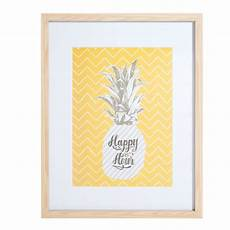 Tableau En Bois Jaune 30 X 40 Cm Happy Pineapple Maisons
