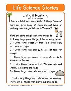 reading comprehension worksheet living nonliving