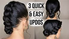 quick easy updo hairstyles 3 quick easy updo hairstyles straightened natural hair youtube