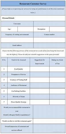 restaurant customer survey form sle forms