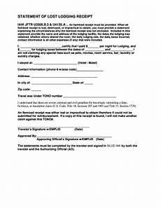 lost lodging receipt statement fill online printable