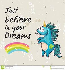 Unicorn Malvorlagen Kostenlos Text Dreams Card With Unicorn Vector Illustration