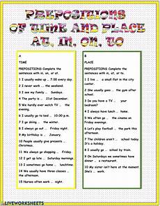 preposition of time worksheets for grade 2 3521 prepositions of time and place at in on to interactive worksheet