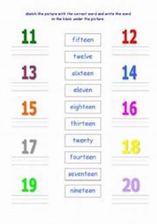 number words 11 20 worksheets english worksheets numbers 11 20