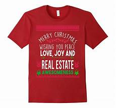 merry christmas peace love real estate awesomeness t shirt cl colamaga