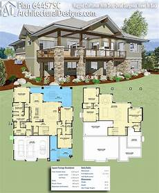 house plans for sloping lots in the rear plan 64457sc rugged craftsman with drop dead gorgeous