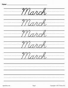 handwriting worksheets in cursive 21413 12 cursive handwriting worksheets months of the year supplyme