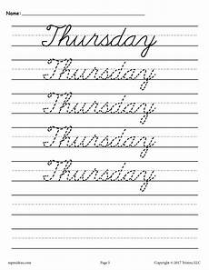 7 free cursive handwriting worksheets days of the week supplyme