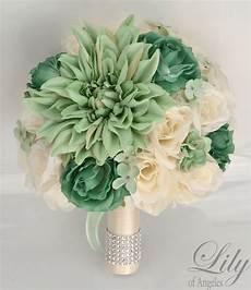 17 piece package silk flower wedding bridal bouquet sets mint green teal ivory ebay