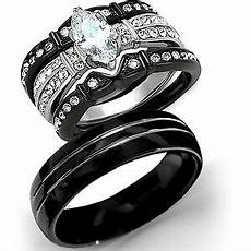 new 4 pc his tungsten black stainless steel wedding engagement ring band ebay