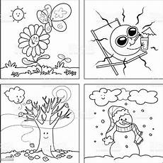 four seasons coloring vector stock illustration
