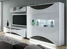 Möbel Weiß Holz - wohnwand weiss hochglanz eiche grau mit beleuchtung woody