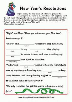 new year worksheets for grade 19410 new year s resolutions fill in the blanks story