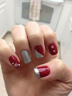 red and silver nail art nails silver