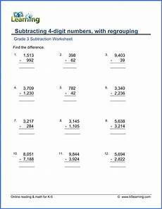 grade 3 math worksheet subtract 4 digit numbers with regrouping k5 learning