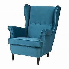 Strandmon Wing Chair Velvet Turquoise Ikea