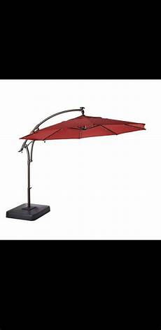 new hton bay 11 ft led offset outdoor patio umbrella in chili retail price 649