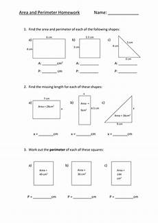 area perimeter homework sheet l5 by fionajones88