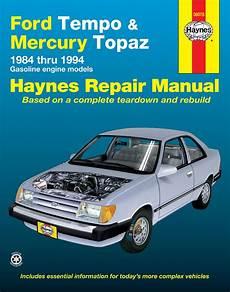 car engine manuals 1985 mercury topaz user handbook ford tempo mercury topaz all 2wd gas engine 84 94 haynes repair manual haynes manuals