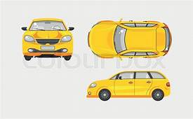 Stock Vector Illustration Isolated Yellow Car Hatchback