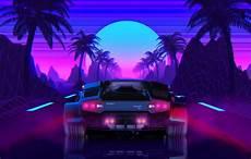 80s Neon Car Wallpaper