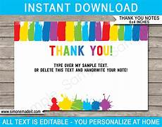 printable thank you cards paint birthday