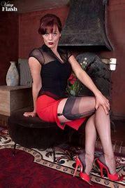 My wife wears skirts, stockings and high heels