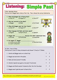 listening worksheets 18364 listening simple past exercise worksheet free esl printable worksheets made by teachers