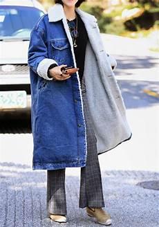 veste en jean mouton femme longue veste en denim doubl 233 mouton d agneau manche