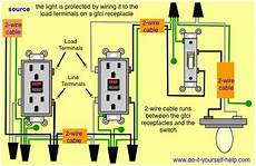 gfci wiring with protected switch and light lighting in 2019 home electrical wiring