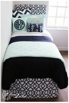 custom preppy dorm room bedding mint navy nautical
