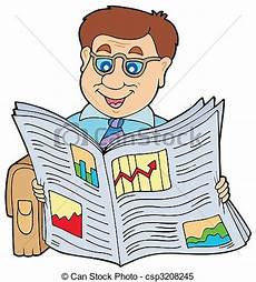Clipart Vector Of Businessman Reading Newspaper Vector