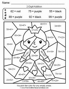 2nd grade math worksheet color by number 2nd grade go math 4 6 2 digit addition color by numbers tpt