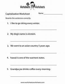 free printable middle school capitalization worksheet