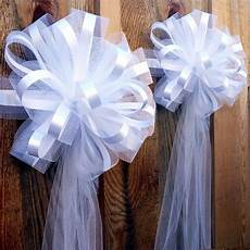 6 large 10 quot white tulle pew bows wedding church aisle ceremony decorations ebay