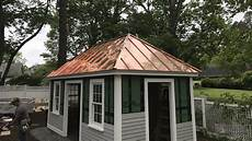 shed with copper standing seam metal roof fab and installation