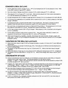 combined ideal gas laws worksheet for 12th higher ed lesson planet