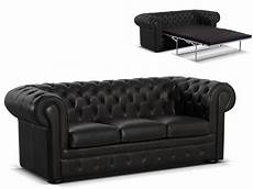 canapé chesterfield convertible canap 233 chesterfield 3 places convertible cuir londres noir