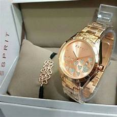 Jam Tangan Esprit Gelang jual jam tangan esprit set box gelang rosegold