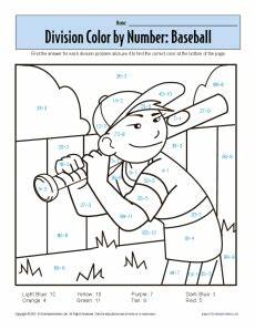 division worksheets coloring 6132 color by number baseball printable division worksheets