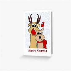 quot merry kissmas reindeer christmas card quot greeting card by meowkittykat redbubble