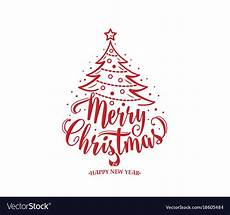 merry christmas and happy new year text tree vector image
