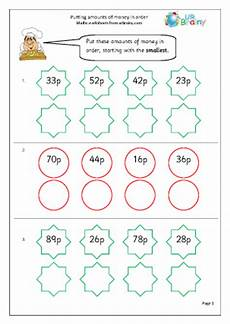 money worksheets ordering 2265 putting money in order money maths worksheets for year 2 age 6 7