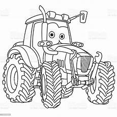 coloring page of tractor stock illustration