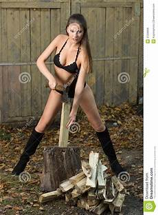 Nackt In Der Garage by Chopping Wood Lumberjack Stock Photo Image Of
