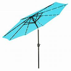 trademark innovations 9 ft deluxe solar powered led lighted patio umbrella in teal patumb led